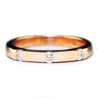 Triple Round Diamond Wedding Band 14K Rose Gold .21ctw