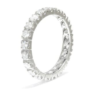 Single Cut Diamond Eternity Band 14K White Gold 1.05ctw