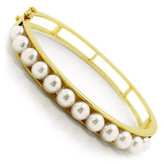 Cultured Pearl Bangle Bracelet 14K Yellow Gold 6-6.5MM