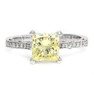 Fancy Yellow Princess Diamond Vintage Style Engagement Ring