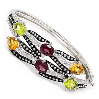 Vintage Multi-Color Gemstone Bangle with Diamonds 18K 7.61ctw