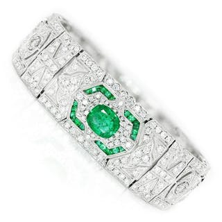 Art Deco Style Emerald Bracelet with Diamonds 18K 10.87ctw