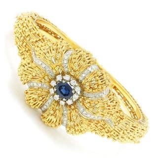 Vintage Certified NO HEAT Sapphire & Diamond Bangle