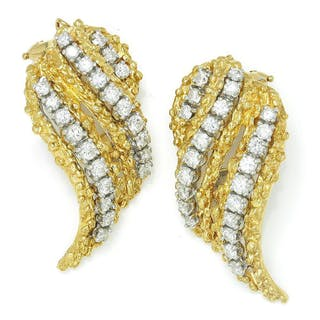 Vintage Diamond Flame Earrings 18K Yellow Gold 2.50ctw