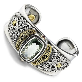 William Schraft Green Amethyst Filigree Cuff 18K/925