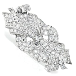 Vintage Art Deco Diamond Brooch Pin in Platinum 5.00ctw