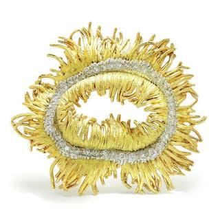 Vintage Diamond Sea Anemone Brooch Pin 18K Gold 1.50ctw