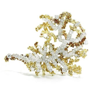 Vintage Diamond Sea Anemone Brooch Pin 18K Gold 4.50ctw