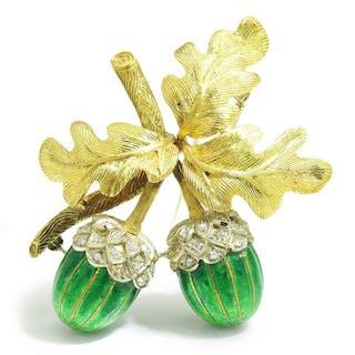 Vintage Diamond Acorn with Leaves Brooch 18K & Enamel
