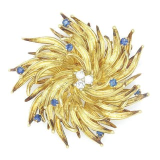 Vintage Tiffany Starburst Diamond Brooch Pin with Sapphires 18K