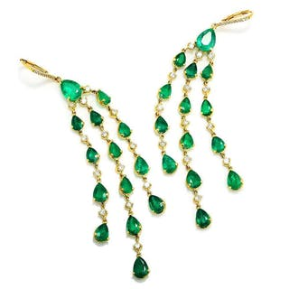 Colombian Emerald Chandelier Earrings with Diamonds 18K