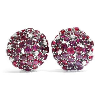 Ruby Dome Clip-On Earrings with Diamonds 18K White Gold