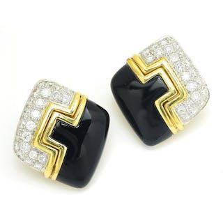 Vintage Diamond & Onyx Earrings 18K Two Tone Gold 1.75ctw