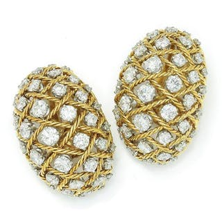 Vintage Diamond Rope Ear Clips 18K Platinum 14K 6.00ctw