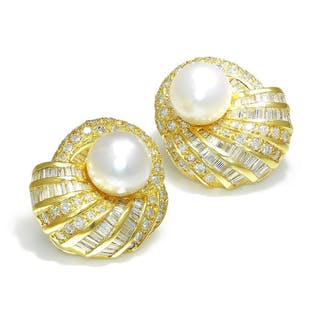 Vintage South Sea Pearl Earrings with Diamonds 18K 3.00ctw