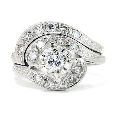 Art Deco Diamond Swirl Engagement Ring Set 14K .50ctw