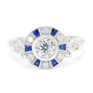 Bezel Set Round Diamond Engagement Ring with Sapphires