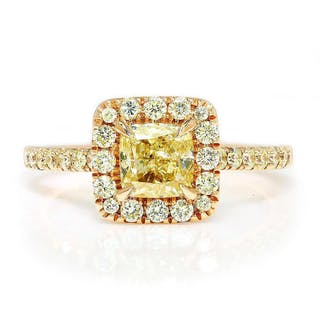 Cushion Fancy Yellow Diamond Ring Rose Gold A.Jaffe 1.60ctw