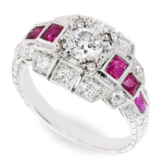 European Diamond Engagement Ring with Rubies 18K 1.61ctw