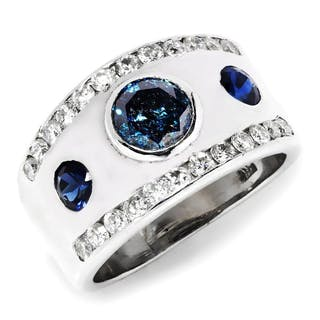 Fancy Blue Diamond 3 Stone Modern Engagement Ring