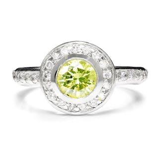 Fancy Yellowish Green Round Diamond Engagement Ring
