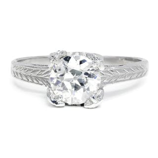 Old European Diamond Solitaire Engagement Ring .90ct
