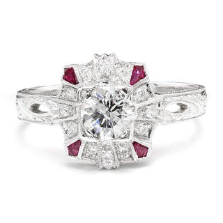 Round Diamond Filigree Engagement Ring with Rubies 18K