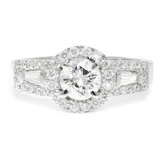 Round Diamond Halo Engagement Ring with Baguettes 14K