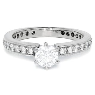 Round Diamond Solitaire Engagement Ring w/ Accents .92ctw