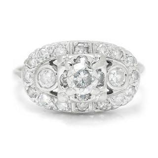 Vintage Round Diamond Engagement Ring White Gold .90ctw