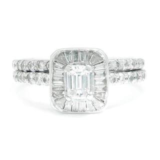 Emerald Cut Diamond Halo Engagement Ring Set White Gold