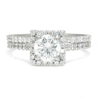 Gabriel & Co Round Diamond Halo Engagement Ring Set 18K 1.76ctw