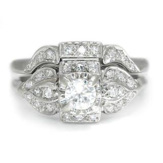 Vintage Round Diamond Engagement Ring Set 14K White Gold