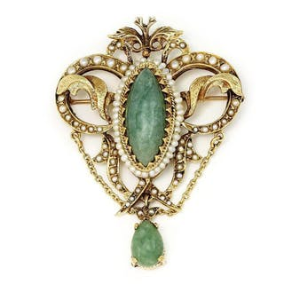Antique Jade Pendant Brooch with Pearls 14K