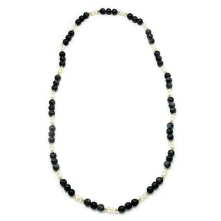 Labradorite Bead Necklace with Pearls & Gold 29""