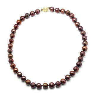 Round Cultured Chocolate Pearl Necklace 14K Gold
