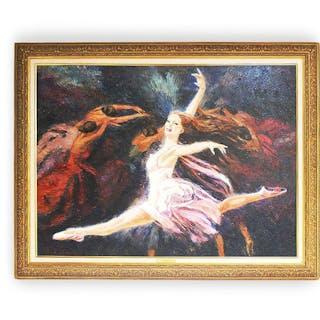 """Nenad Mirkovich """"Angel Wings"""" Original Oil Painting Framed 37 x 47"""" Ballerina"""