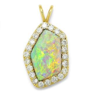 Australian Opal & Diamond Pendant 14K 14.45ctw Certified