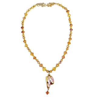 Baroque Pearl Pendant Necklace with Gemstone's 18K