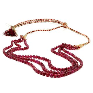Triple Strand Ruby Bead Necklace 309.86 Carats NOT DYED