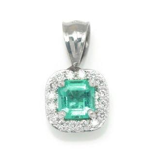 Emerald Halo Pendant with Diamonds 14K White Gold .53ctw