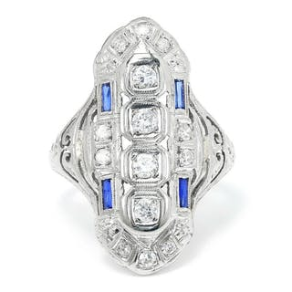 Art Deco Diamond Dinner Ring with Sapphires 18K .45ctw