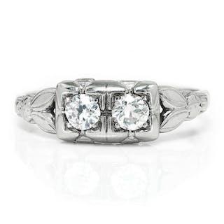Art Deco Double Diamond Vintage Ring 14K .40ctw