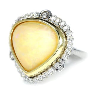 Australian Opal & Diamond Heart Ring Two Tone Gold 14.41ctw