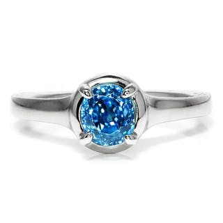 Gabriel & Co Amavida Blue Zircon Solitaire Ring 18K 1.50ct