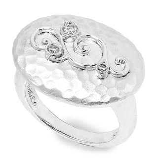 Gabriel&Co Oval Hammered Ring with Diamonds in Sterling