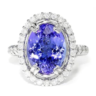 GIA Certified Tanzanite Oval Halo Ring with Diamonds 18K