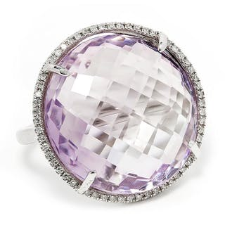 Large Amethyst Halo Ring with Diamonds 14K 18.28ctw