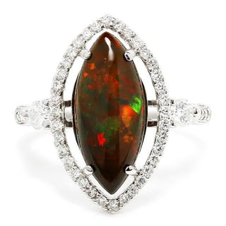 Marquise Opal Halo Ring with Diamond's 18K 2.36ctw