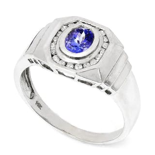 Men's Tanzanite Ring with Diamonds 14K 1.60ctw